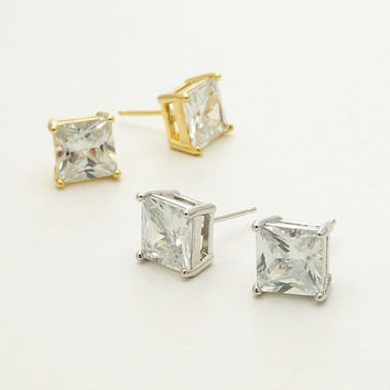 Sterling Silver Princess Cut Studs