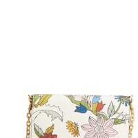 Tory Burch Robinson Floral Leather Wallet on a Chain | Nordstrom