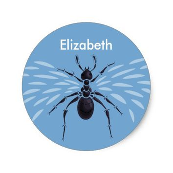 Customizable Name Abstract Flying Ant With Wings Classic Round Sticker