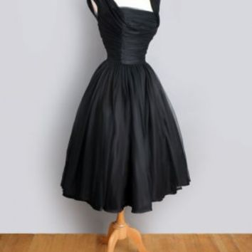 1960's Black Ruched Chiffon Evening Cocktail Party Dress 1960'S 1950'S BLACK CHIFFON EVENING PARTY VINTAGE DRESS: Audrey Hepburn worthy! :