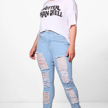 Plus Molly Ripped Skinny Jean | Boohoo