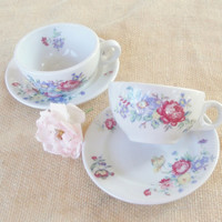 Vintage Tea Party for Two Shenango Teacups and Saucers, Set of 2, Cottage Chic, Tea Party, Victorian Shabby Chic