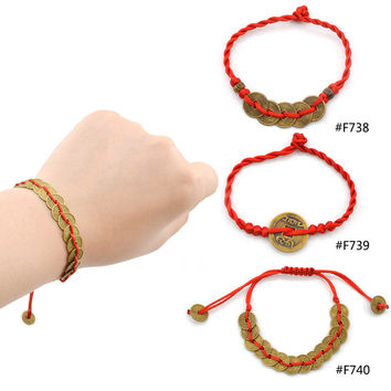 Lychee 1 piece Chinese Feng Shui Wealth Lucky Copper Coin Pendant Adjustable Red String Bracelet Jewelry