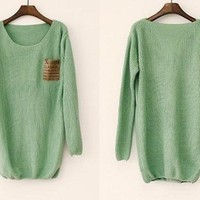 Mint pullover sweater with leather pocket