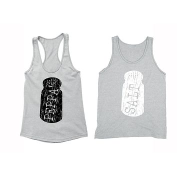 XtraFly Apparel Salt Peppa Pepper Shaker Valentine's Matching Couples Racer-back Tank-Top