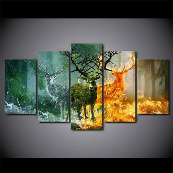 Deer Canvas Painting Nature Forest Fire Snow Wall Picture for Living Room Home Decor