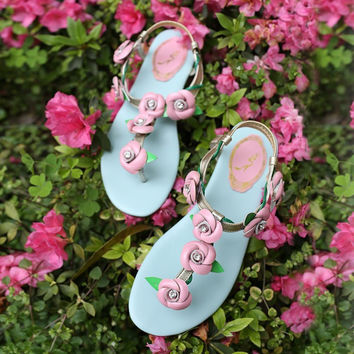 Summer Rhinestone Floral Leather Flat Sandals [4905657988]