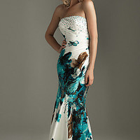 Strapless Print Prom Dress by Night Moves  6218