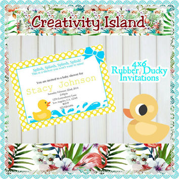 Rubber Ducky Baby Shower Invitations. 4x6, picture paper, printed and shipped. Baby Shower, rubber ducky, duck invitations, yellow and blue.