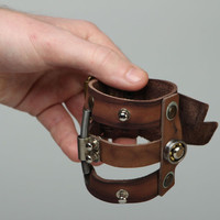 Unusual handmade leather bracelet unisex accessories designer's homemade present