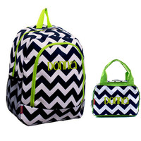 Monogrammed Large Navy Blue and Lime Chevron Backpack and Lunch Bag