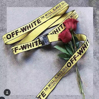2016 New Collection Off-White Men Belt hiphop brand Canvas Belt Long Style Off White Women Belt C O Virgil Abloh Industrial