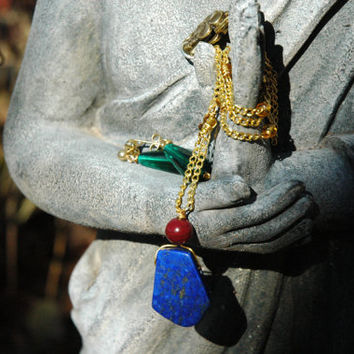 Howl's Green Drop Earrings and Lapis Necklace