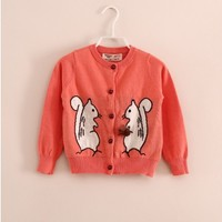 Vintage Inspired Girls Clothes Squirrels Pink Cardigan | Vindie Baby