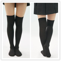 [3 For 2] Black/White  Knitting Over Knee Long Socks SP151625