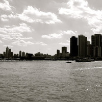 16x9 inch Canvas Original Black and White Photography Chicago Lake Michigan Summer
