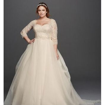 Oleg Cassini Plus Size Beaded Lace Wedding Dress - Davids Bridal
