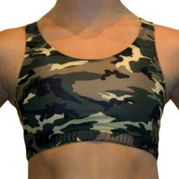 GemGear Camo Print Raser Sports Bra, C1 (Camo Print Green) Medium