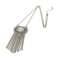 Fringe Medallion Long Necklace