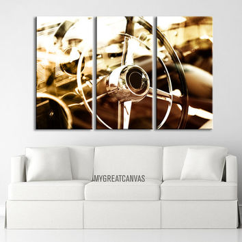 Antique Car Steering Wheel Large Canvas Print - Giclee 3 Panel Wall Art Large Canvas Printing