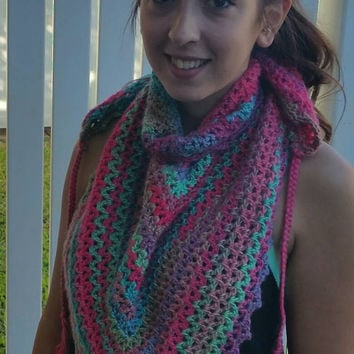 Crochet Women's Multicolored Shawlette, Brightly Colored Bandana Scarf, Women's/Teen Gift, Tassel Ties One of a Kind Staement Scarf