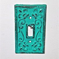 Teal Blue Decorative Light Switch Plate/ Single by AquaXpressions