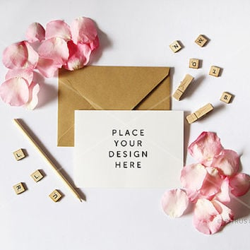 Styled Stock Photography - Product Presentation - Card, Invitation Mock Up -  Pink Rose Petals and Blank Landscape Card on White Desktop