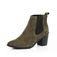 Khaki suede mid heel ankle boots - chelsea boots - shoes / boots - women