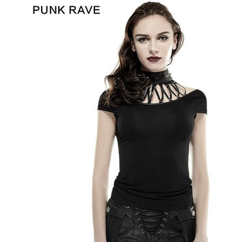 FASHION NOVELTY NEW PUNK ROCK GOTHIC STEAMPUNK SEXY T SHIRT SUMMER COTTON BRAND QUALITY VISUAL KEI TOP T4