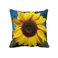 Sunny Sunflower Square Pillow from Zazzle.com