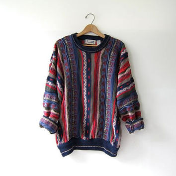 Vintage 80s abstract sweater. Bill Cosby sweater. Oversized sweater. Tribal sweater.