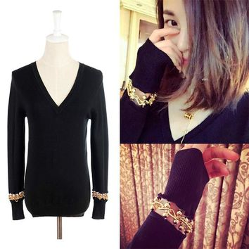 2016 Time-limited Cotton Wool Full Poncho 2017 Spring New Women's Sweater Metal Chain Long-sleeved V-neck Pullover Primer Women