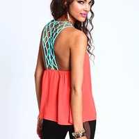 Coral Contrast Chiffon Top