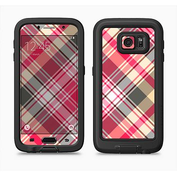 The Pink & Tan Plaid Layered Pattern V5 Full Body Samsung Galaxy S6 LifeProof Fre Case Skin Kit