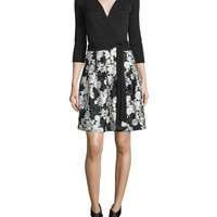 Diane von Furstenberg Jewel Floral-Trim Wrap Dress, Black/Ivory