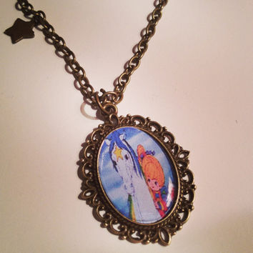 Rainbow Brite Cameo Necklace by RabbitJewellery on Etsy
