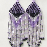 Native American Beaded Earrings Inspired. Silver  Black  Purple Earrings. Dangle  Earrings.Long Earrings.  Beadwork.