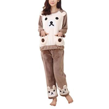 Winter Coral fleece Women Warm Flannel Pajama Set Sleepwear Cute Bear Tops & Pants Home Wear