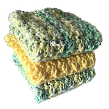 Handmade Dish Cloths Set of 3 Yellow Green Purple Delicate Pastel Wash Cloths Crochet Kitchen Dishcloths Eco Friendly Cotton