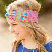 TURBAN HEADBAND PURPLE GEOMETRIC