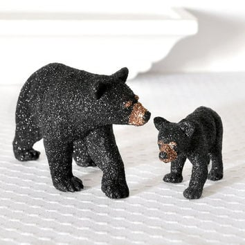 Black Bears Mom and Baby Cub Animal Table Decoration for Woodland Weddings, Bridal Showers, Cabin Home Decor or Birthday Party Centerpiece