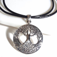 Tree of Life Necklace Sterling Silver Tree Pendant Family Tree Pendant Large Silver Pendant Mens Necklace Leather or Silver Chain