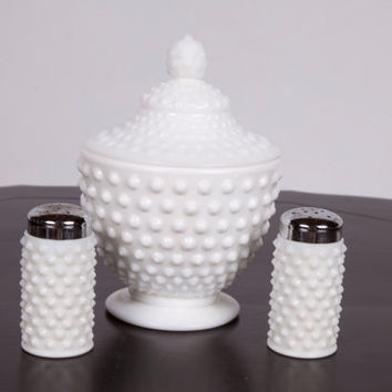 Hobnail Candy Dish Vintage Milk Glass Covered Dish with Lid Salt and Pepper Shakers
