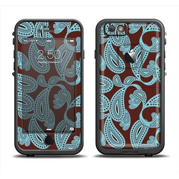 The Blue and Brown Paisley Pattern V4 Apple iPhone 6 LifeProof Fre Case Skin Set