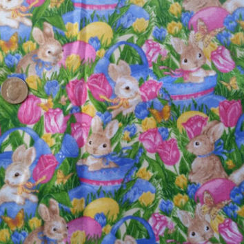 Easter bunny fabric garden eggs grass basket flowers cotton quilt print quilters sewers sewing project quilting material BTY by the yard