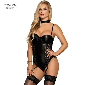 Comeonlover Jumpsuit Romper for Women Plus Size Corpo Femme Bodysuit for Women RT80384 Sexy Lace Leather Bodysuit Garter Teddy