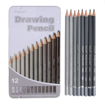 12 Sketching Pencils Tin Box