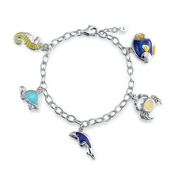 Dolphin Crab Turtle Seahorse Created Opal Bracelet Sterling Silver