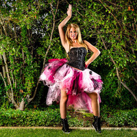 Adult tutu, high low tutu skirt, Hot pink black, halloween fairy costume, special occasion tutu, bustle tutu skirt