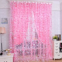 Print Floral Door Sheer Window Curtains Room curtains for living room Curtain Divider